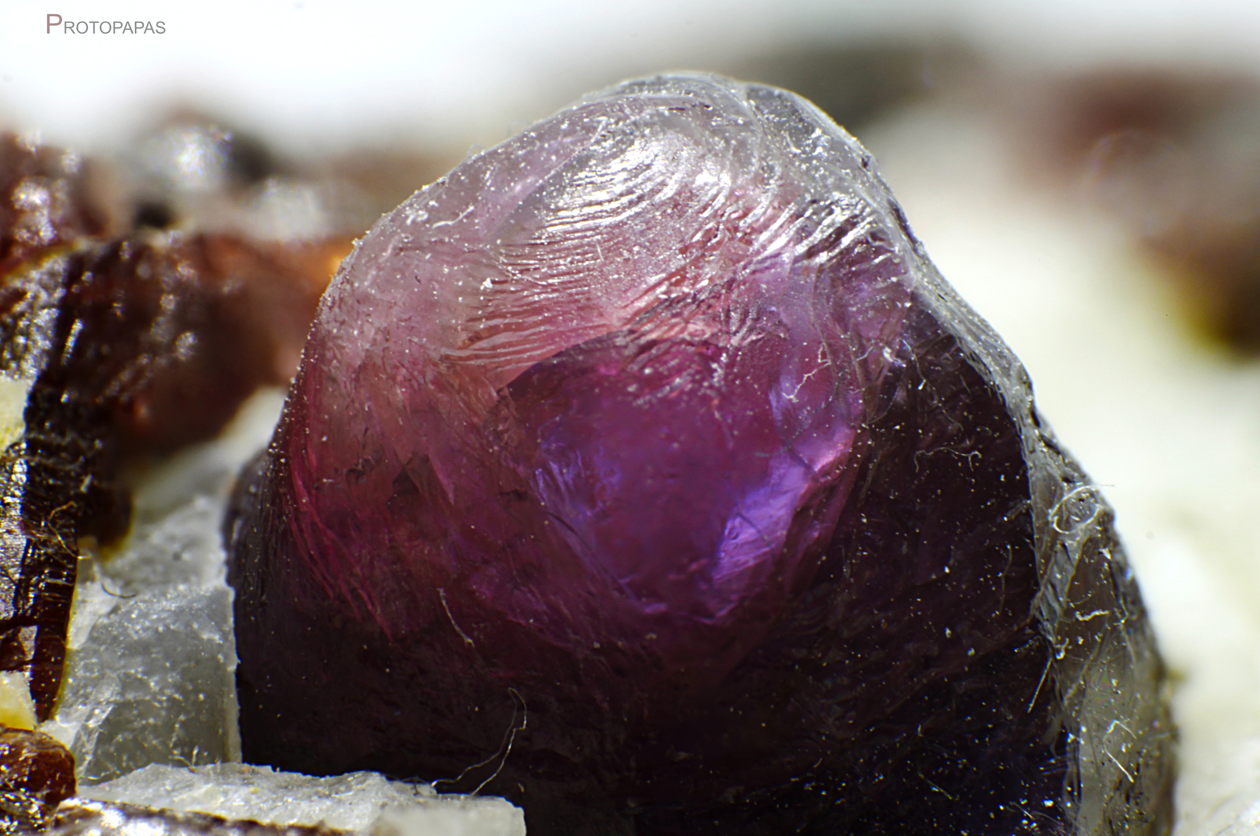 Corroded surface of a Sapphire from Zazafotsy quarry in Madagascar
