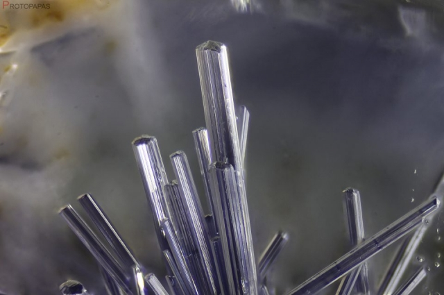 Dumortierite crystals in clear Quartz from Brazil