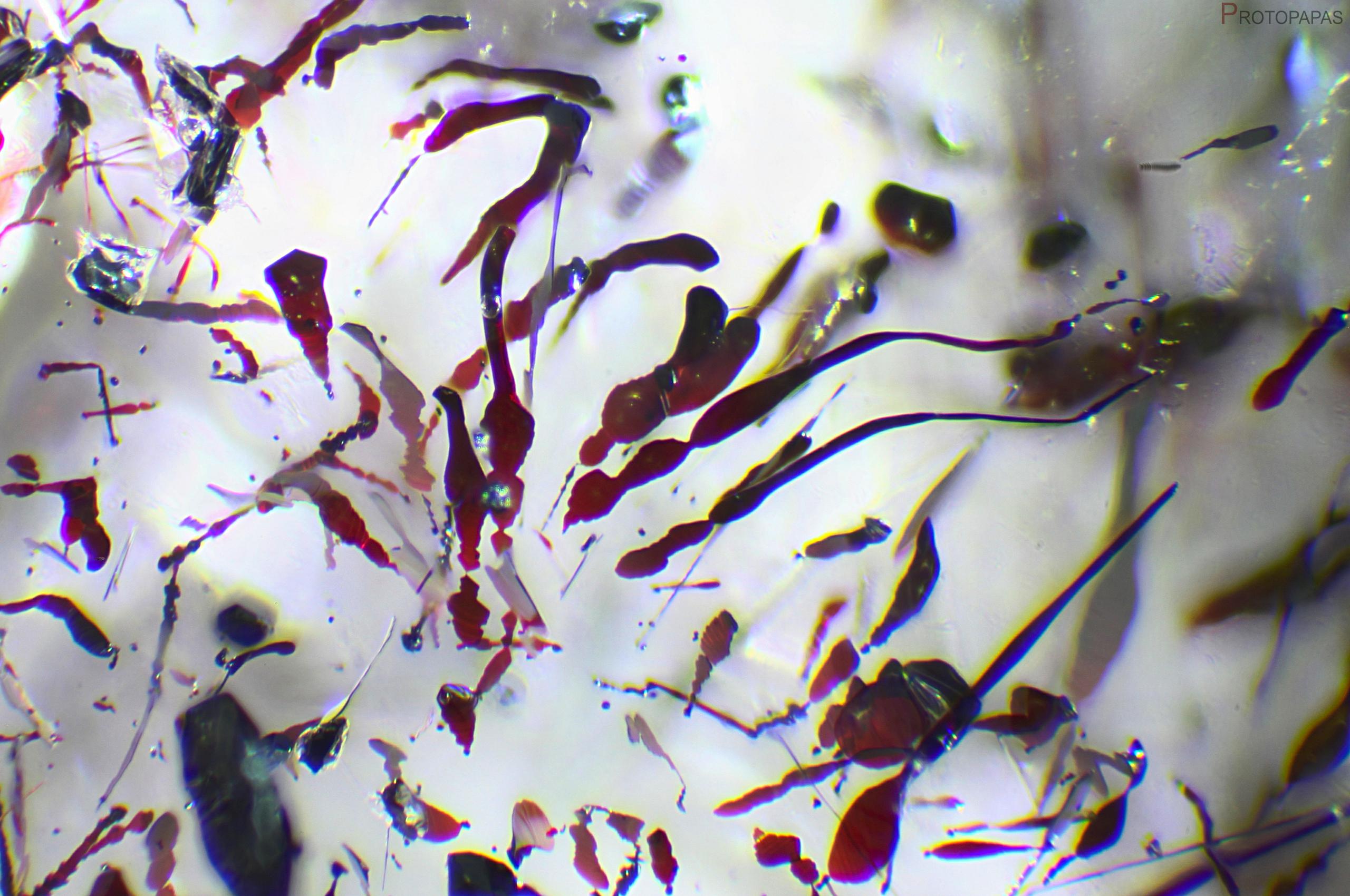 Hematite in clear Quartz