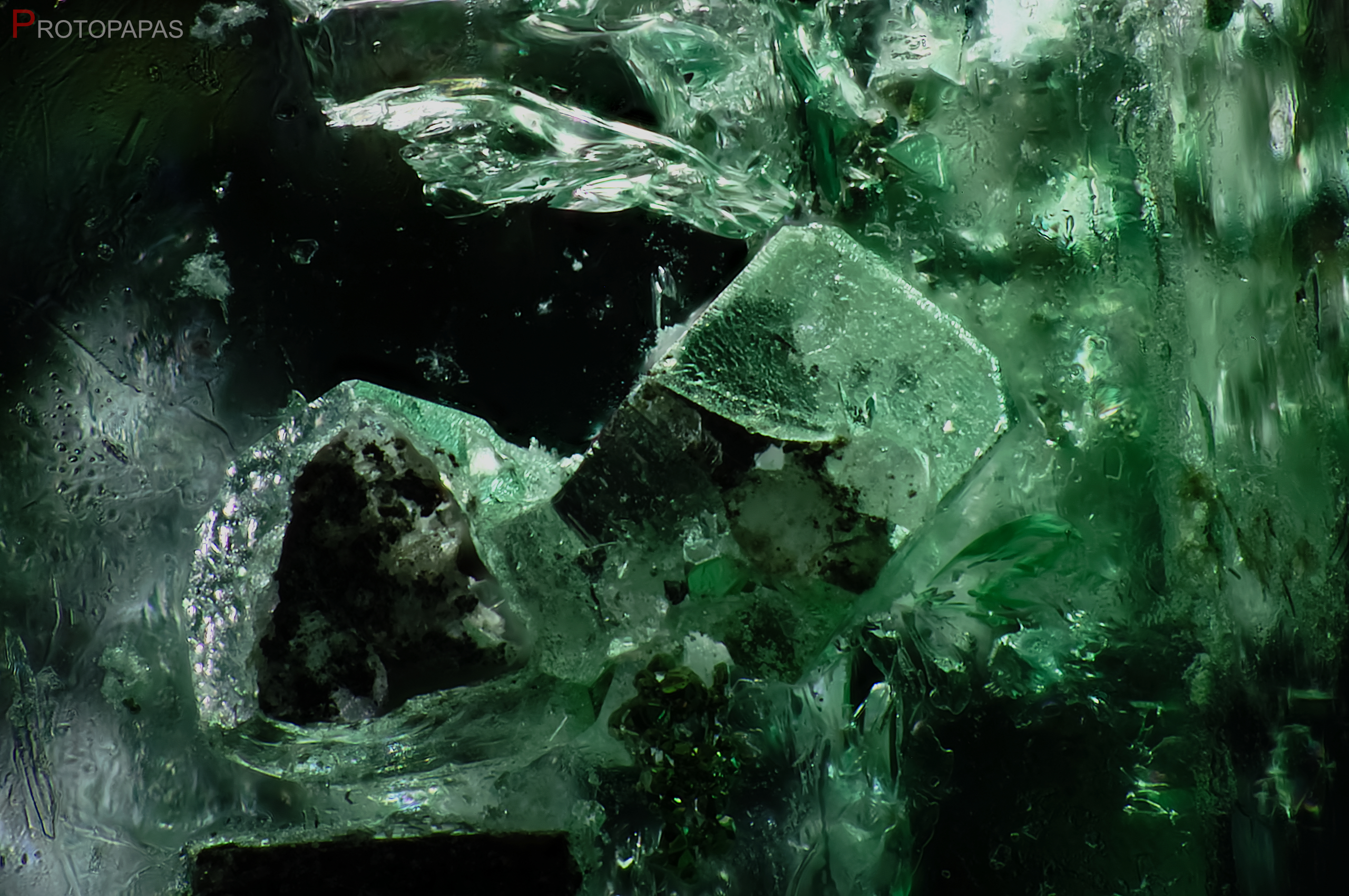 Large crystals of Dolomite and Pyrite in Emerald from Colombia
