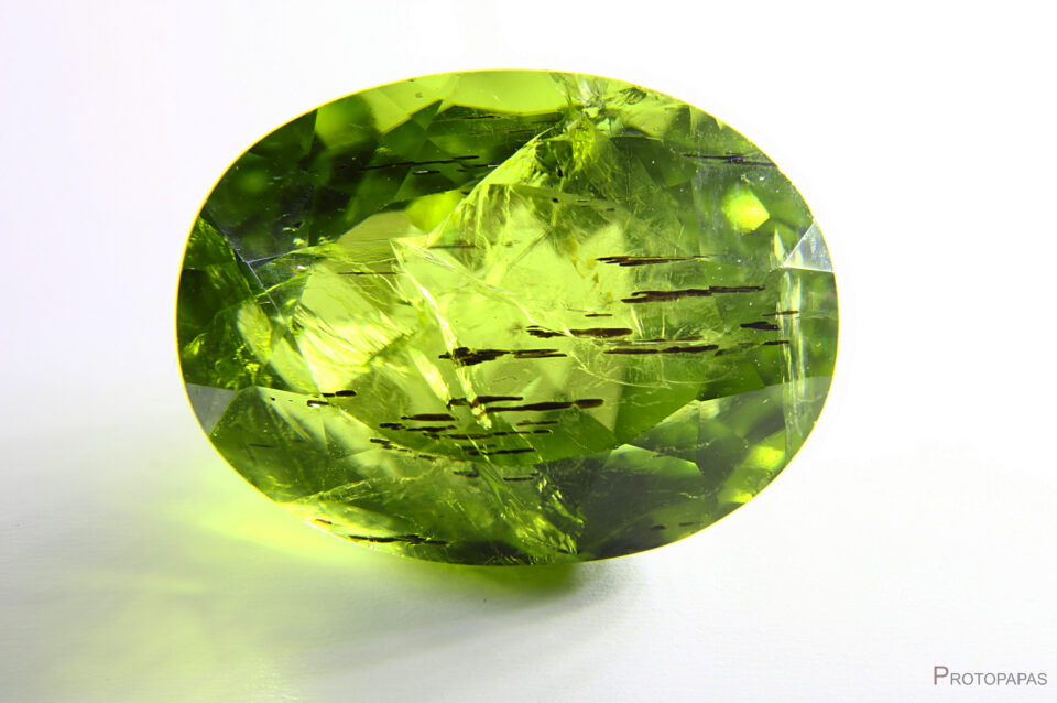 Large inclusions of probably Mica in Peridot from Pakistan