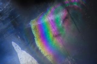 Large iridescent liquid inclusion in Kyanite