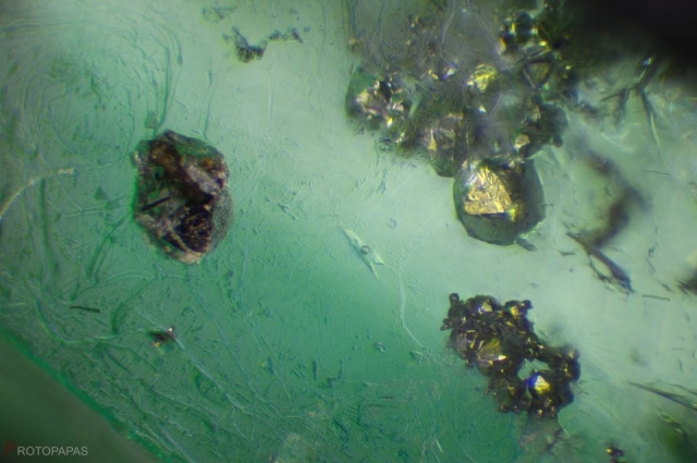 Pyrite and Three phase inclusion in rough Emerald from Colombia