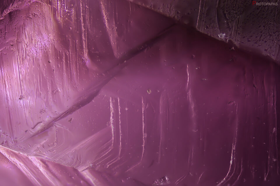 Surface of a rough flux growth synthetic Ruby