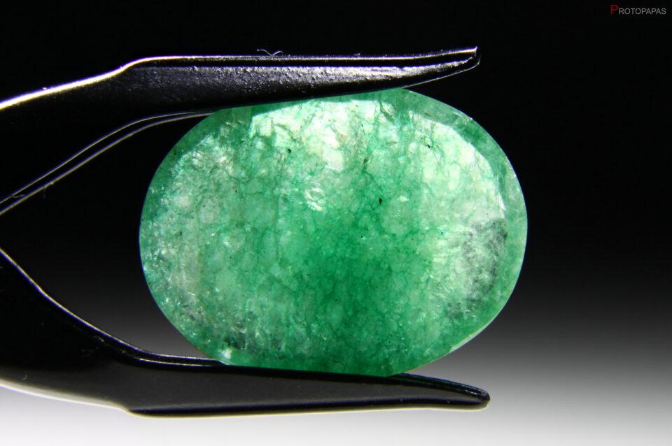 Cracked and dyed quartz, imitation of Emerald_
