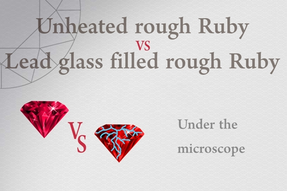 Unheated rough Ruby vs Lead glass filled rough Ruby - Photo by Francesco Protopapas