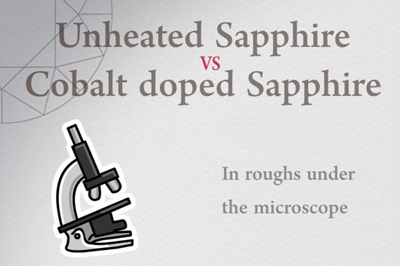 Unheated Sapphire vs Cobalt doped Sapphire - Photo by Francesco Protopapas