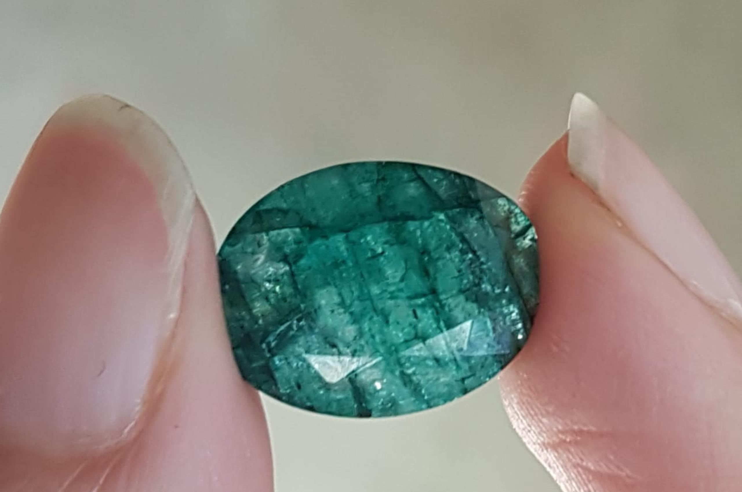 Dyed Goshenite beryl, imitation of Emerald. Photo by Fausta Aidala