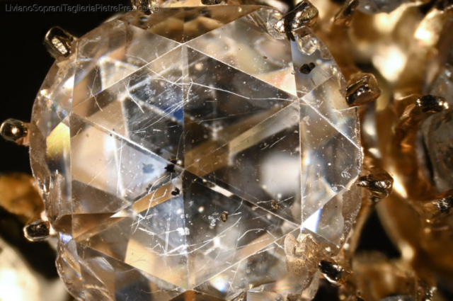 Doublet of rose cut Diamond and glass. Photo by Liviano Soprani