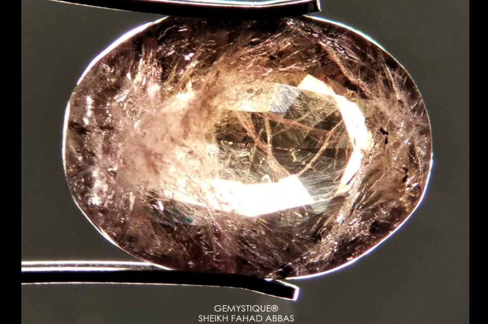 Inclusions in Axinite. Photo by Sheikh Fahad Abbas