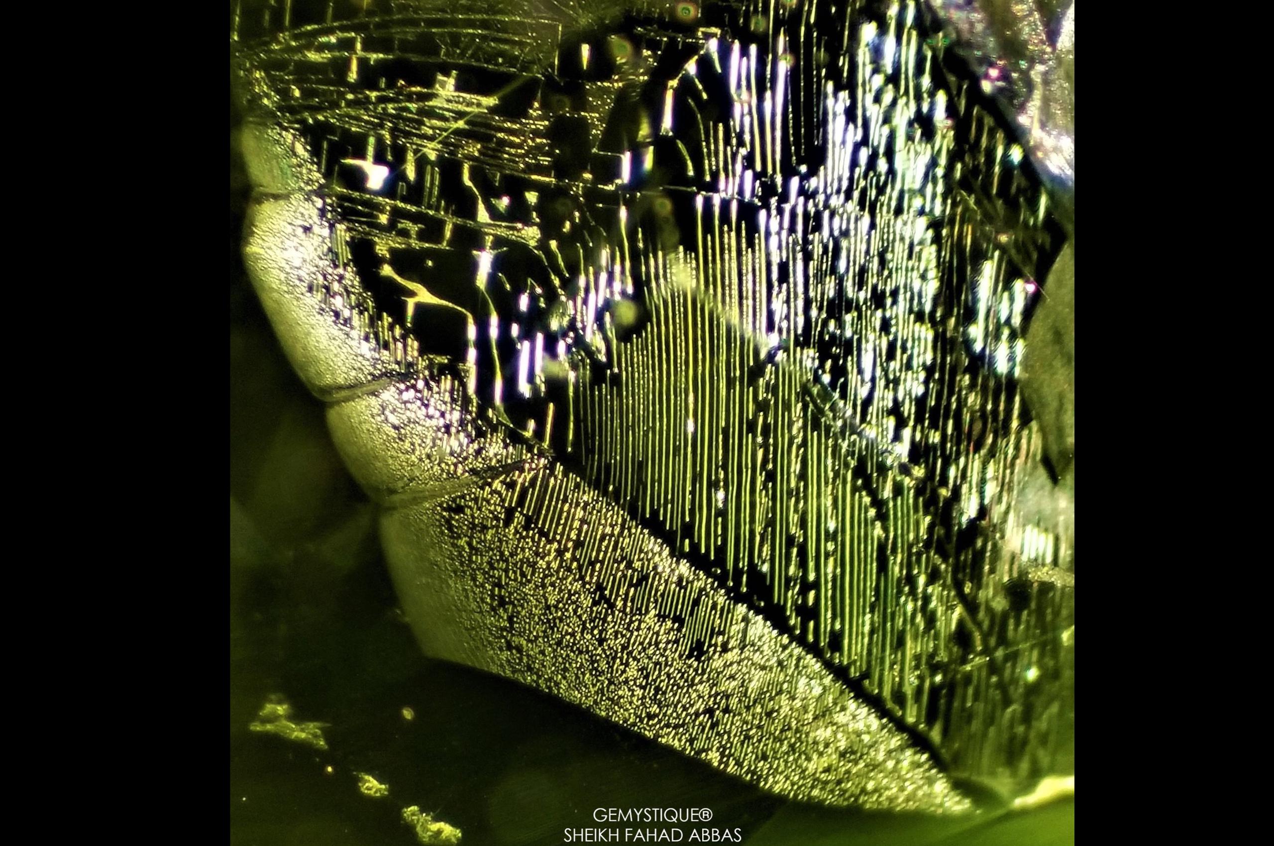 Liquid inclusion in Peridot. Photo by Sheikh Fahad Abbas