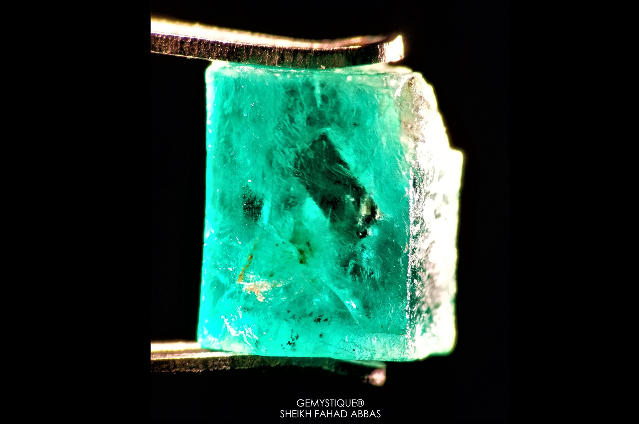 Pyrite in rough Emerald from Swat. Photo by Sheikh Fahad Abbas