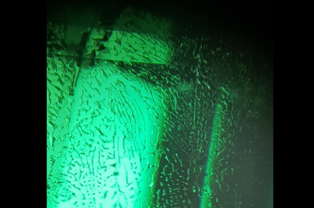 Typical fingerprint in hydrothermal synthetic Emerald. Photo by Felipe C. Pereira